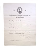 Governor Company Massachusetts Bay New England Duly Admitted Freeman Cer... - $123.75