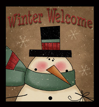 Primitive Wood Sign 844WW - Winter Welcome Snowman - $18.95