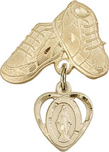 14K Gold Filled Baby Badge with Miraculous Charm and Baby Boots Pin 1 X 5/8 inch - $99.75