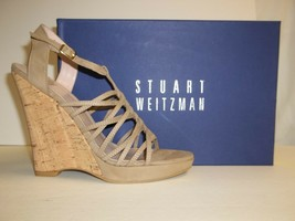 Stuart Weitzman Size 10 M Barrister Tan Leather Wedge Sandals New Womens... - $134.78