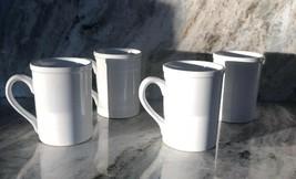 Royal Norfolk White Stoneware Coffee Mugs Dinnerware Cups-Set Of 4-RARE-SHIP24HR - $39.48