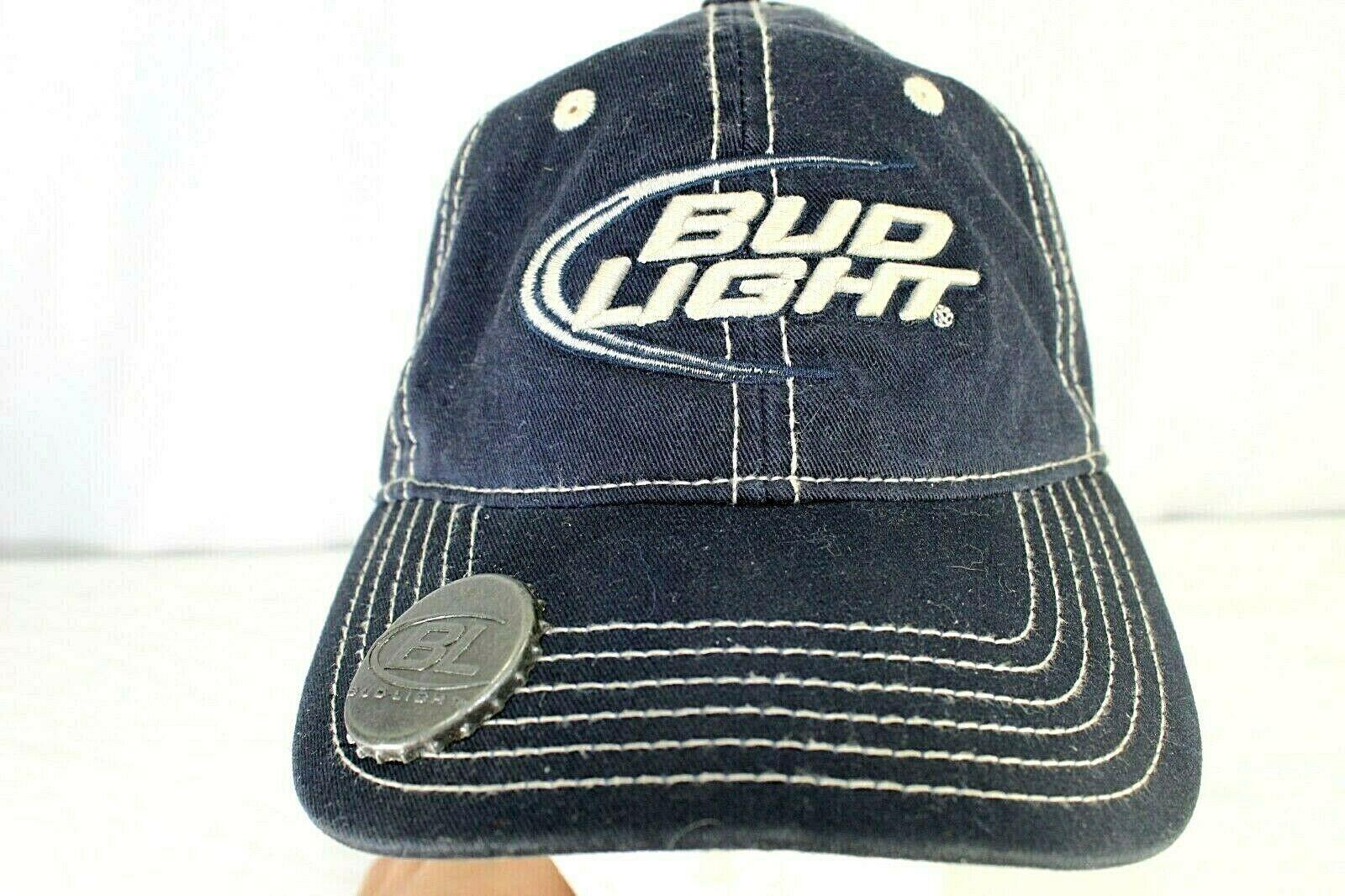 Bud Light Navy blue/white Baseball Cap Adjustable  with Bottle Opener - $19.35