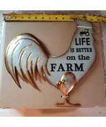 Life is better on the farm rustic farmhouse sign wood and tin home decor... - $18.32