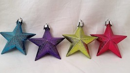 Star Ornament Colorful Set of 4 Holiday Purple Blue Pink Yellow - $8.58