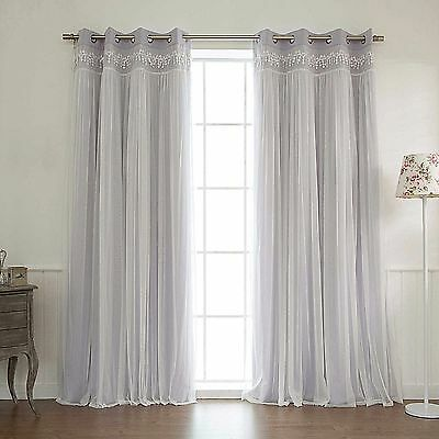 Primary image for Decor Innovation Sheer Overlay Grommet Top Blackout Window Curtain Panel Pair