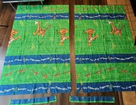 Vintage Disney Winnie The Pooh Tigger Green Blue Plaid Curtain Drape Pan... - $39.59