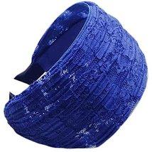 Fold Lace Headband Fashion Hairband Wide Headwrap Hair Accessories(Sapphire)