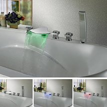 Contemporary Color Changing LED Waterfall Tub Faucet Chrome Finish - $336.55