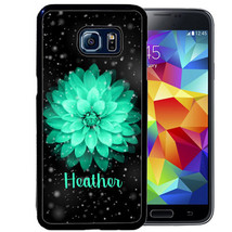 PERSONALIZED RUBBER CASE FOR SAMSUNG S8 S7 S6 S5 EDGE PLUS SPACE TEAL FL... - $13.95