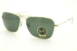 Ray Ban RB 3136 CARAVAN Sunglasses 001 Gold Frame Green Lenses NEW!