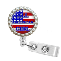 """US Flag """"All American Girl' Retractable Reel ID Name Tag Badge Holder - ... - $10.00"""