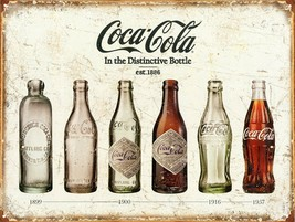 Coca Cola Advertising Bottle Evolution Distressed Vintage Style Metal Ti... - $14.99