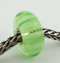 Authentic Trollbeads Light Green Stripe Bead Charm 61377, New - $24.93