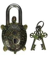 PARIJAT HANDICRAFT Turtle Monastery Lock - Solid Brass with Antique Fini... - £29.47 GBP