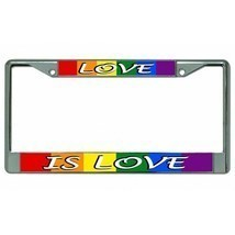 love is love pride lgbtq flag colors chrome license plate frame usa made - £19.62 GBP