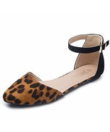 SANDALUP Pointy Toe Flats with Adjustable Ankle Strap Buckle for Women L... - $21.99