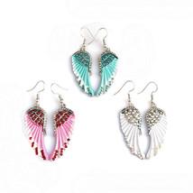 Cute Women's Earrings Angel Wings Rhinestone Alloy Dangle Earring Fashio... - $18.60