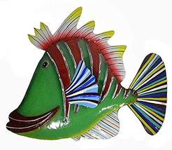 WorldBazzar Green with RED Stripe red Lips Beautiful Unique Fish Metal H... - $24.69