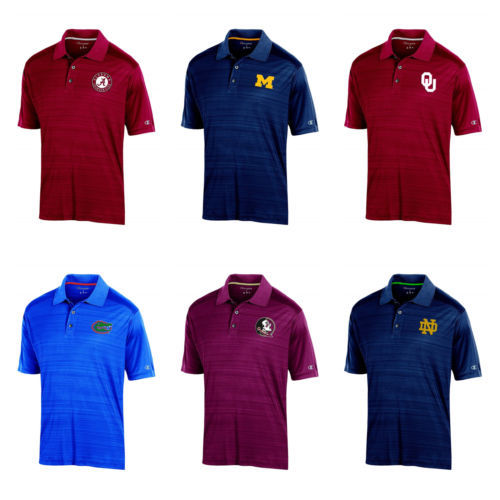 NCAA Men's Instant Replay 2 Polo Shirt by Champion Short Sleeve Licensed NEW