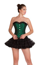 Green Black Brocade DOUBLE BONE Overbust & Black Tissue Tutu Skirt Corset Dress - $89.99