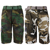 SW Men's US Force Military Army Multi Pocket Camouflage Cargo Shorts with Belt