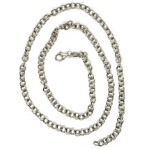 """18K WHITE GOLD CHAIN 23.60"""", ROUND CIRCLE ROLO LINK, DIAMETER 4 MM MADE ITALY image 2"""