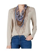 Style & Co Long Sleeve Fringed Printed Top with Scarf, Heather Neutral N... - $7.39