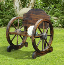 Wooden Wagon Wheel Bench Park Chair Wood Country Furniture Patio Porch B... - $122.50