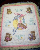 "Hand Quilted & X Stitched ""MR MOON & ME"" Baby Quilt Crib Cover  - $159.99"