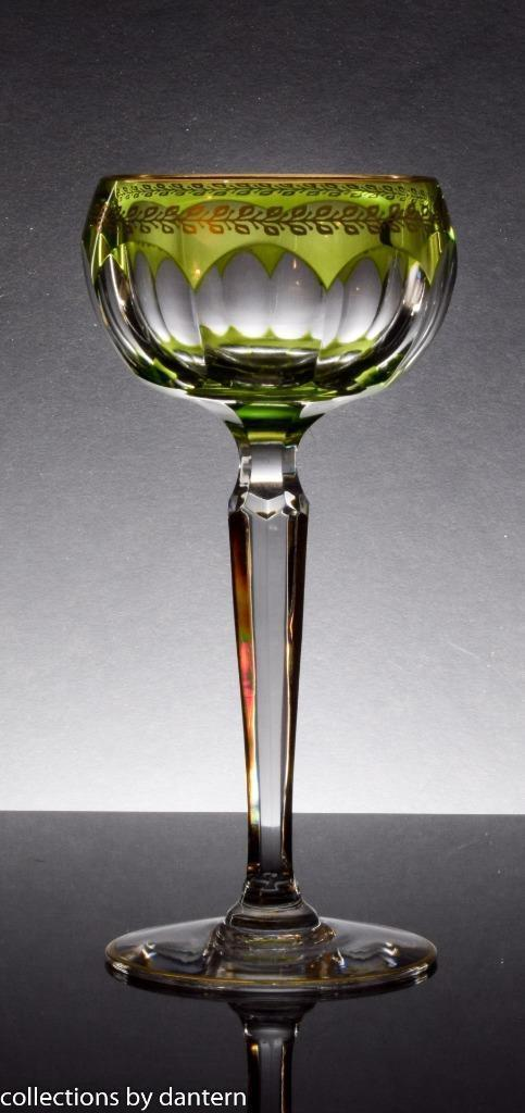 Val St. Lambert Crystal Wine Glass Stemware, Olive with Gold Accents - $279.00