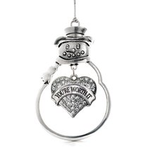Inspired Silver Your Worth It Pave Heart Snowman Holiday Christmas Tree Ornament - $14.69