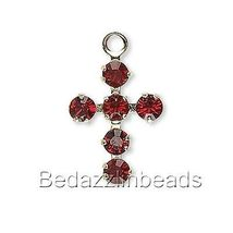 Little 14mm Gold Plated Cross Charm with Siam Red Swarovski Crystal Rhin... - $10.00