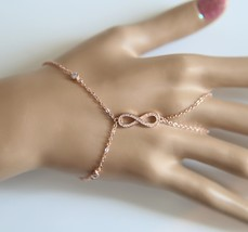 Ot brand woman 2017 new rose gold color link chain bezel cz infinity charm hand jewelry thumb200