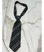 GIORGIO ARMANI Mens Black Grey White 100% Silk Tie Necktie Handmade in I... - $30.81