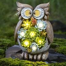 GIGALUMI Owl Garden Figurines Outdoor Solar; Waterproof Resin Succulent ... - $43.11