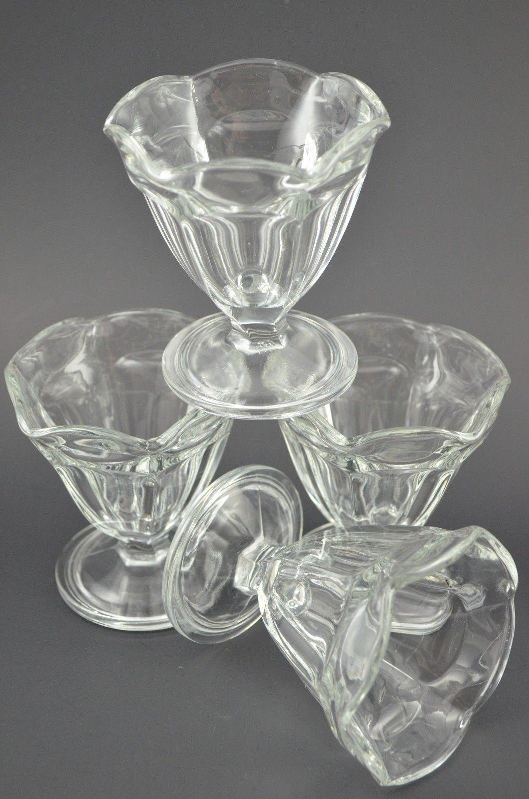 "Anchor Hocking Sundae Cup Dish Set of 4 Tulip Glass Vintage 4"" Dessert Parfait"