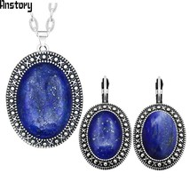 Oval Natural Lapis Lazuli Jewelry Set Necklace Hook Earrings Antique Sil... - $13.83
