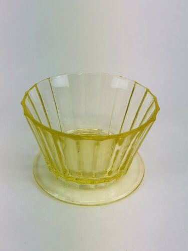 "1 Depression Glass  Yellow  Vaseline Glass, Dessert Cups, 2""s Tall"