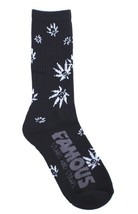 Famous Stars and Straps Black/White Fam Grown Weed Skulll Crew Socks NWT image 2