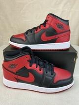 "Nike Air Jordan 1 Mid (GS) ""Banned"" Black Gym Red White 554725074 Women 5.5 / 4Y - $173.20"