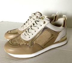 New Michael Kors Wilma Trainer MK Logo Jacquard sneakers size 5.5 Beige / Camel - $98.01