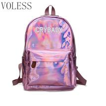 Laser Sequins Women Backpack High Quality Soft Pu Leather School Bags Fo... - $36.31 CAD