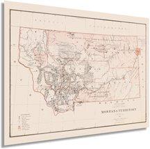 1879 Montana State Map - Vintage Map of Montana Wall Art - Old Montana Map Wall  - $34.99+