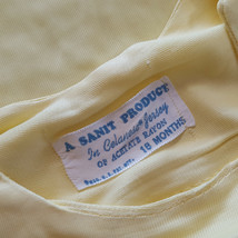 Vintage Baby One Piece Snap Crotch Yellow Dog Silky Nylon 50s 60s Baby - $22.72
