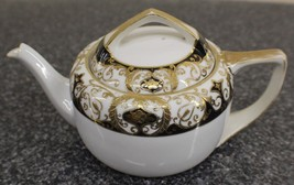 Noritake 20056 Teapot GOLD gild & BLACK HAND PAINTED Christmas Ball - $55.00