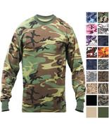 Camo Long Sleeve T-Shirt Tactical Military Crew Tee Undershirt Army Camo... - $12.99+