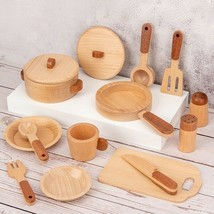 Kids Wooden Pretend Cooking Playset Kitchen Toys Cookware Play Set Toddl... - $48.82