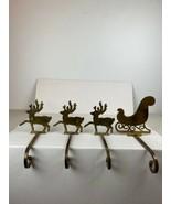 Vintage Christmas Brass Mantel Stocking Hanger Holder Hook Set 4 Reindee... - $148.49