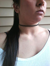Studded Black Leather Choker Necklace Gold Studded Choker Necklace Women... - $27.00