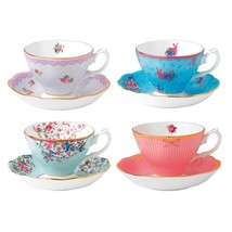 Royal Albert Candy MIX Teacups and Saucers, Set of 4 NEW IN THE BOX - $115.93